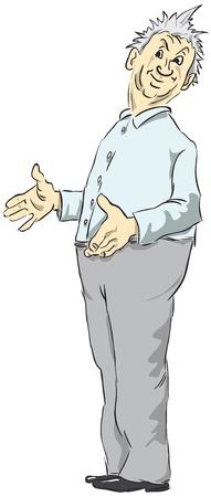 wonderment: Middle-aged man dressed in a blue-gray color.  illustration expresses surprise.