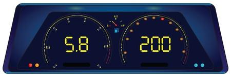 control panel: Pannello di controllo digitale in auto. illustrazione.