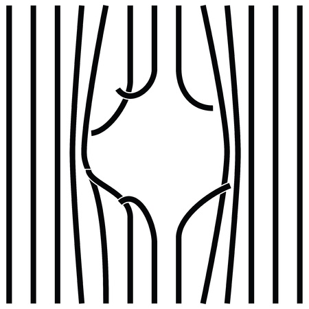 By bent and damaged bars. illustration. 일러스트
