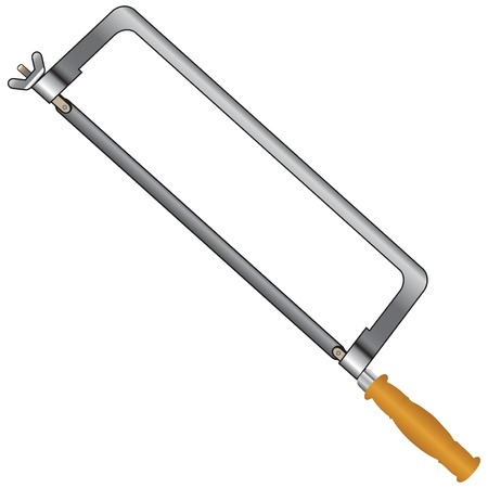 sawn: Hacksaw with a wooden handle. illustration. Illustration