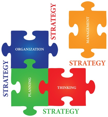 planlama: four jigsaw puzzle pieces with words on the topic of strategy. Çizim