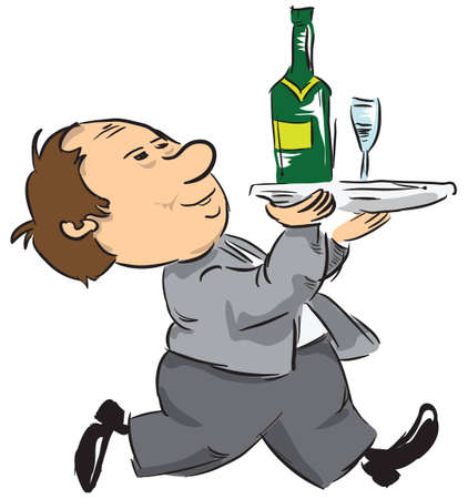 A waiter with a bottle of wine and wine glasses. illustration. Çizim