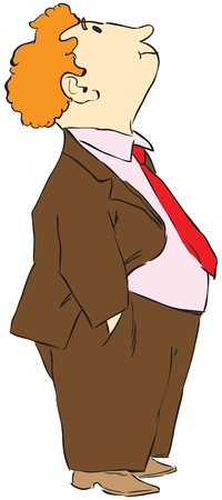 look at: Curly red-haired man looks up, preparation for the design works. illustration.