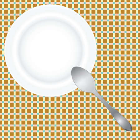 Net lepel en een plaat op het celoppervlak van de tafel. illustratie. Stock Illustratie
