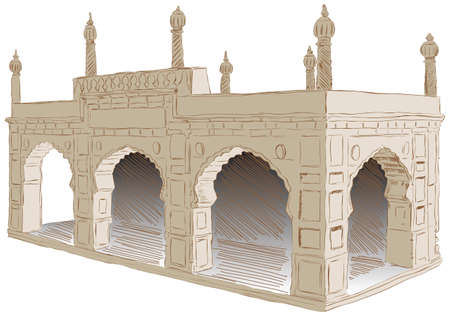The style of architecture Islamist Afghanistan. illustration.