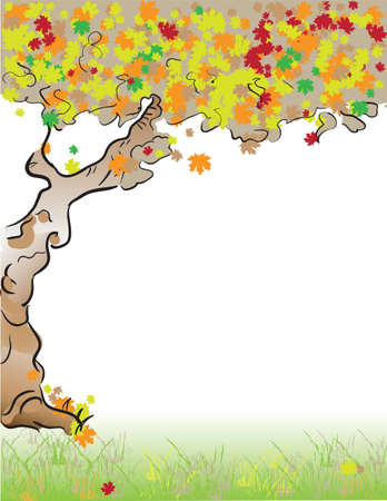 Autumn. Old tree with deciduous foliage. illustration. Format Letter Stock Vector - 12498457