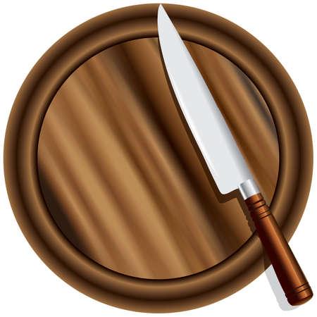 cutting board: A kitchen knife on a cutting board round. illustration.