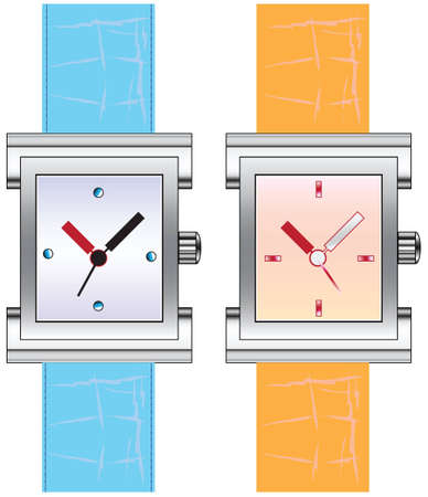 Modern watch on your wrist with a rectangular dial on black leather strap. illustration.
