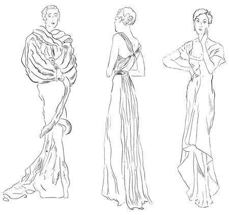 robes de soir�e: Trois figures f�minines en robes de soir�e. illustration, dessin � la main.