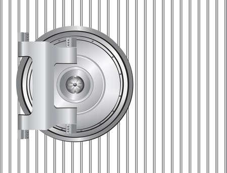 Round steel bank door on the lattice. illustration.