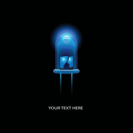 led light: Electronics, blue LED on a black background. illustration. Illustration