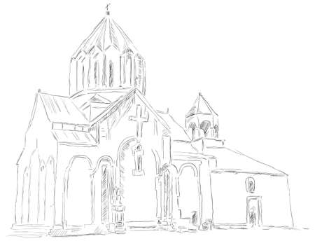 The old church in Albania. Figure is made by hand. illustration. Çizim