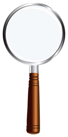 diopter: Magnifying glass with wooden handle. illustration.