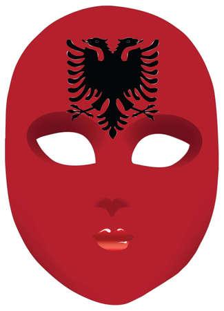 Classic mask with symbols of statehood of Albania. illustration