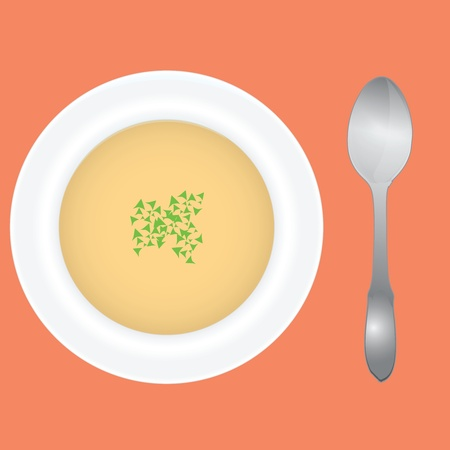 Soup in a deep dish with spices and spoon. illustration.