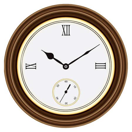 numeros romanos: Ronda de reloj de pared en una caja de madera. N�meros romanos. ilustraci�n.