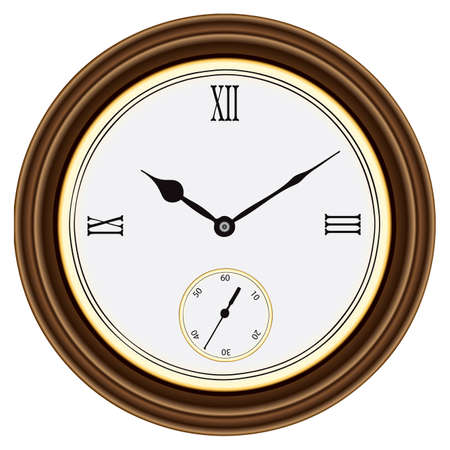 roman numerals: Round wall clock in a wooden case. Roman numerals. illustration.