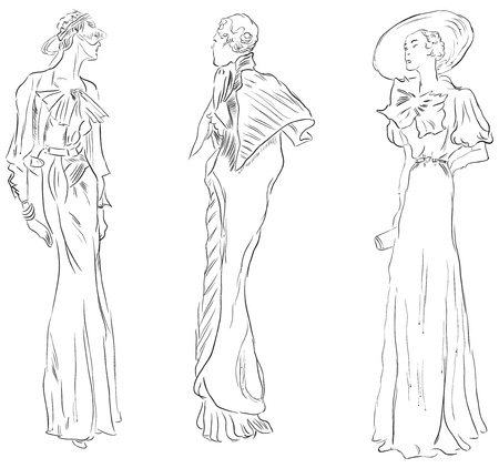 Three female figures in evening dresses. illustration, hand-drawing.