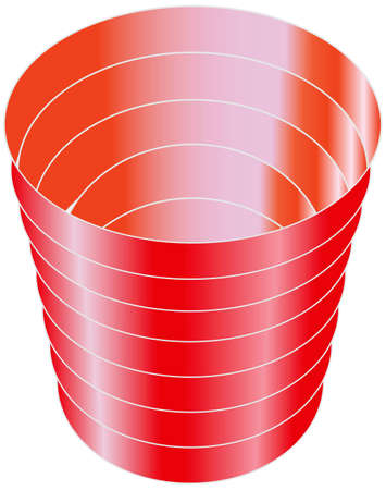 Red plastic cup for cold drinks. illustration.