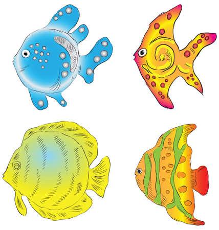 Les poissons d'ornement dans les mers du sud. illustration. Banque d'images - 12498582