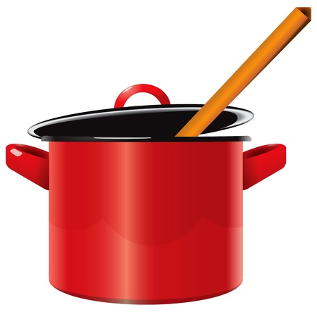 Red enameled saucepan with a lid and a wooden spoon. illustration.