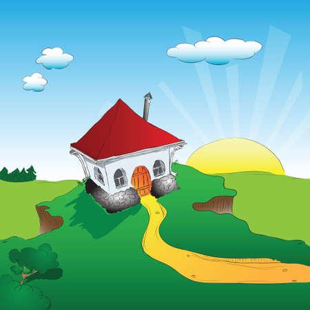 Het huis op de heuvel, de zon opkomen. illustratie.