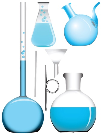 A set of chemical retorts and flasks. Vector illustration. Vettoriali
