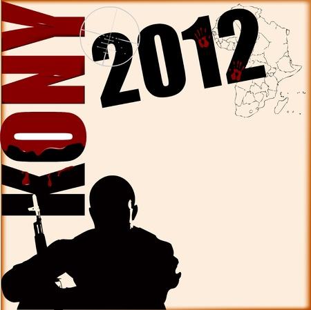 tiran: illustratie op het onderwerp van Kony 2012 in verband met Invisible Children.