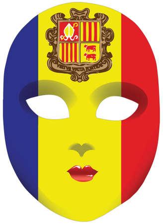 statehood: Classic mask with symbols of statehood of Andorra.