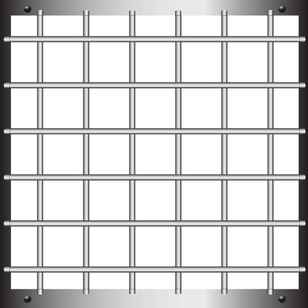 Horizontal and vertical bars of steel grating.