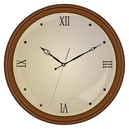 Round Wall Clock Wooden with glass. Stock Vector - 12813315