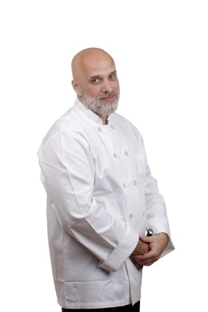 Portrait of a caucasian chef in his uniform on a white background. Stock Photo - 12813341