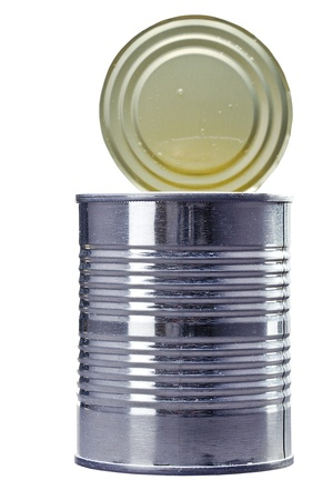 unlabelled: Close-up photograph of a metal can isolated on a white background.