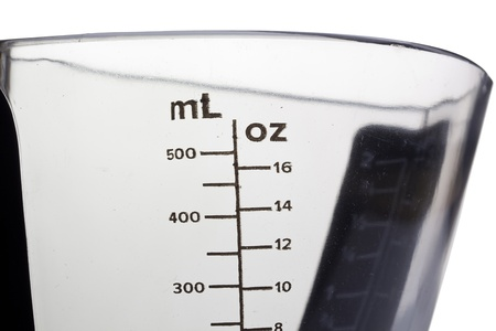 Close-up photograph of measurements on a glass container.