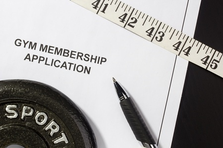 Directly above photograph of a gym membership application. 스톡 콘텐츠