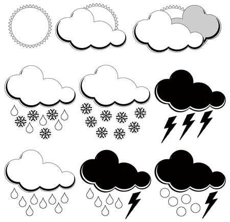 Synoptic symbols for different weather conditions. Stock Vector - 12813386