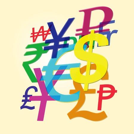 symbols: The symbols of the dominant major world currencies.