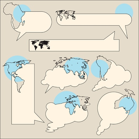 Text messaging with the contours of the continents and the possibility of placing pie charts.