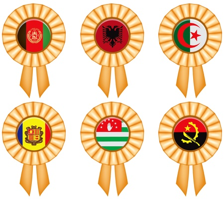 polity: A set of award ribbons with state flags. Illustration