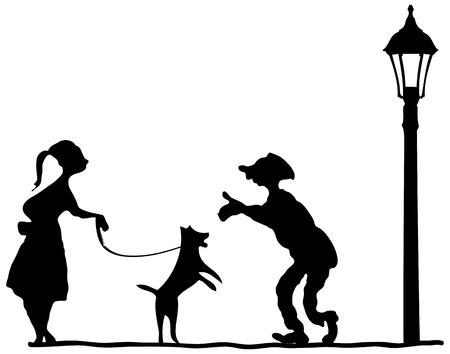Meet men and women, a dog on a leash. Иллюстрация