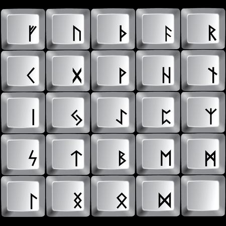 コンピューターのキーボードのボタン上のルーンのシンボル。