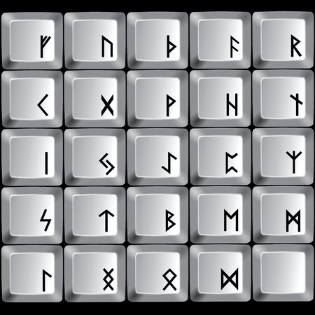 Rune symbols on the buttons of a computer keyboard. Vector