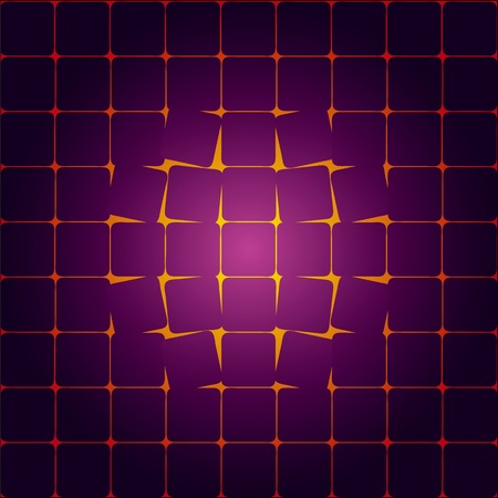 overturn: The destruction of the geometric pattern. The cells are destroyed from the center. Illustration