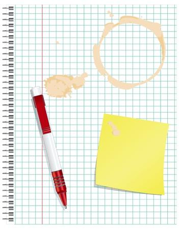 더러운 운동 빨간 펜으로 책, 커피의 자리. 일러스트