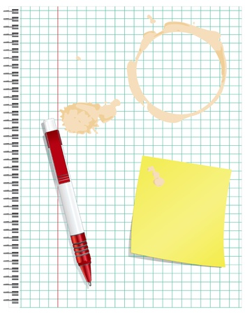 Dirty exercise book with a red pen, and a spot of coffee.  Ilustração