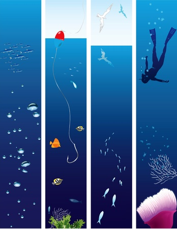 Collection of illustrations on the theme of marine life. Vector