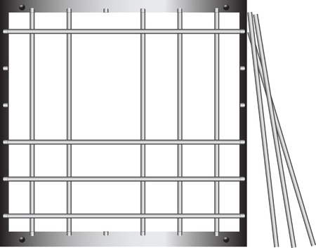 Steel grating without a few twigs. Stock Vector - 12813459