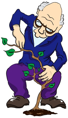 greybeard: Un uomo anziano si prende cura della pianta.