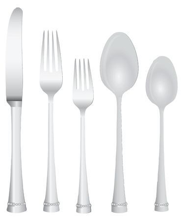 Cutlery Serving Knife two forks and two spoons.