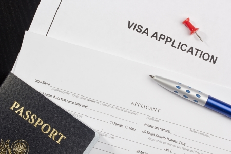 Directly above photograph of an application for a visa. 스톡 콘텐츠